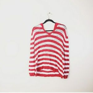 3/$25 FRESH PRODUCE Striped Loose Knit Hoodie Red